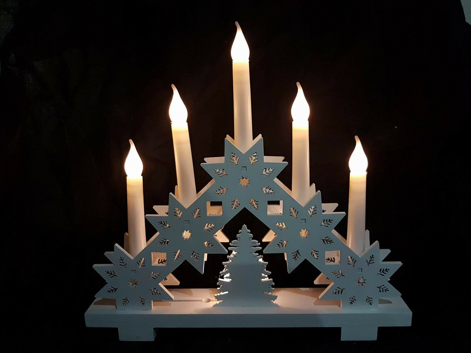 White shabby chic 32cm pre lit wooden 5 led candle bridge for Arch candle christmas decoration