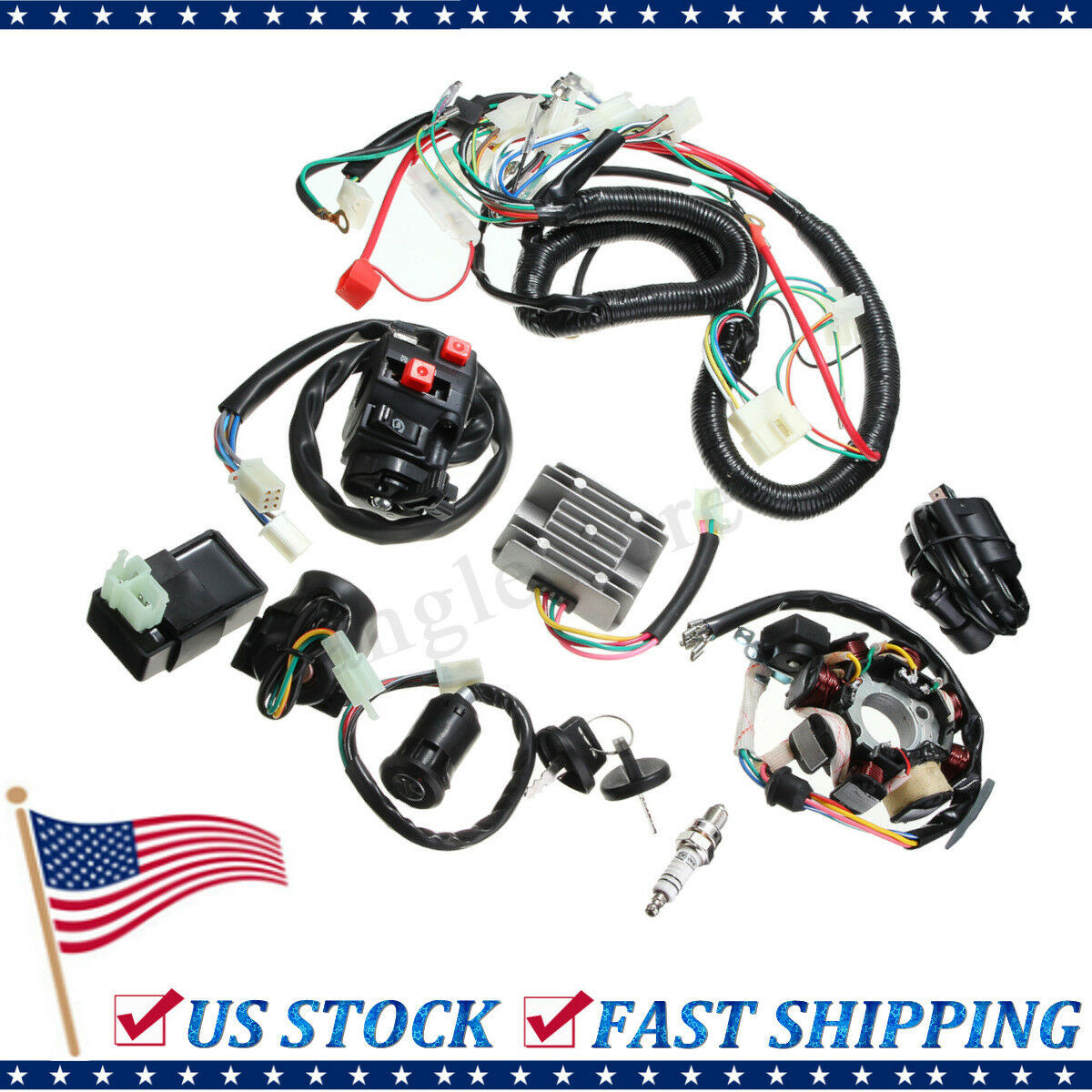 Electrics Wiring Harness Wire Loom Atv Quad 125 150 200 250cc Stator Lifan 125cc Motor 1 Of 12free Shipping