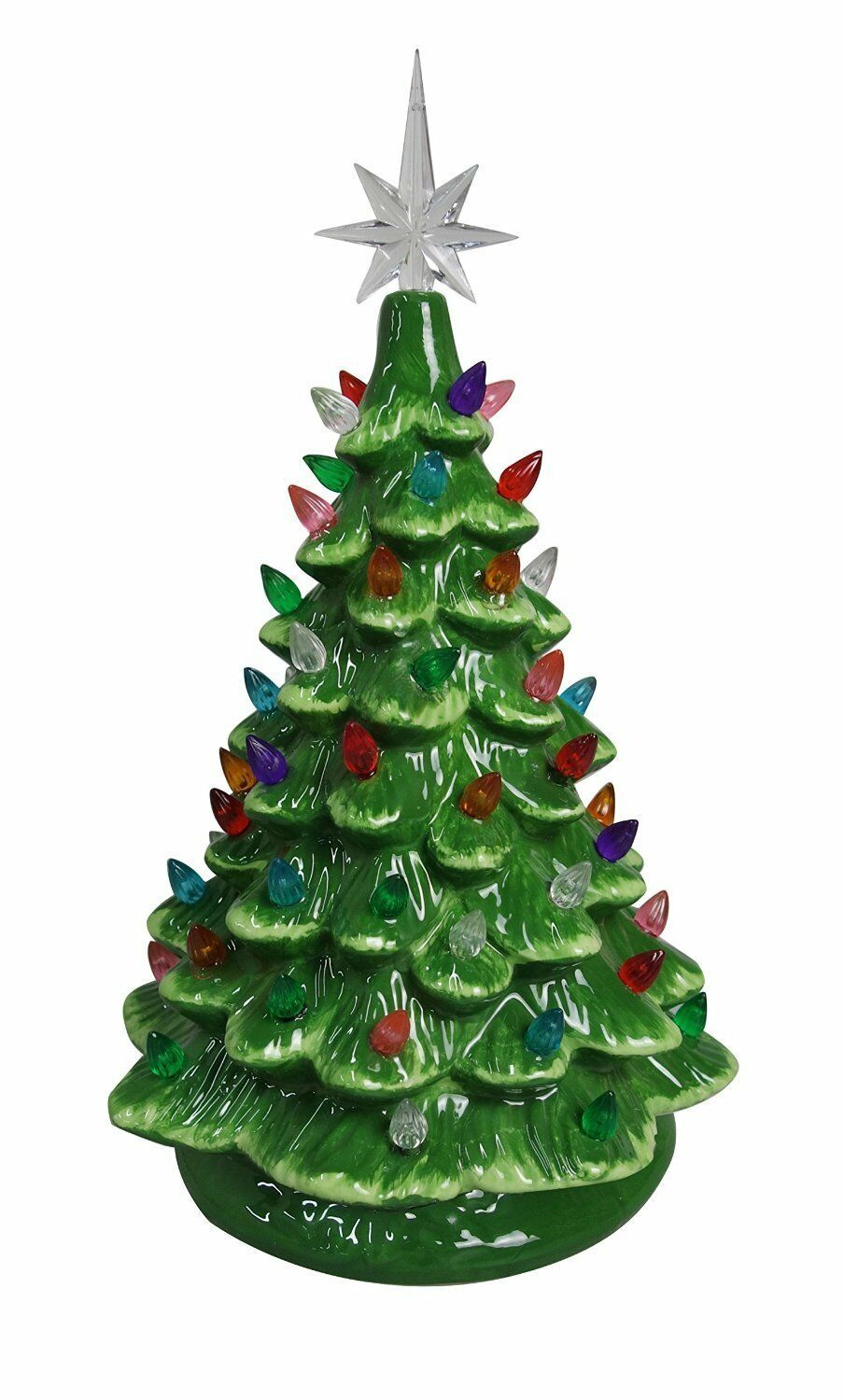 CHRISTMAS IS FOREVER Lighted Tabletop Ceramic Tree 11\