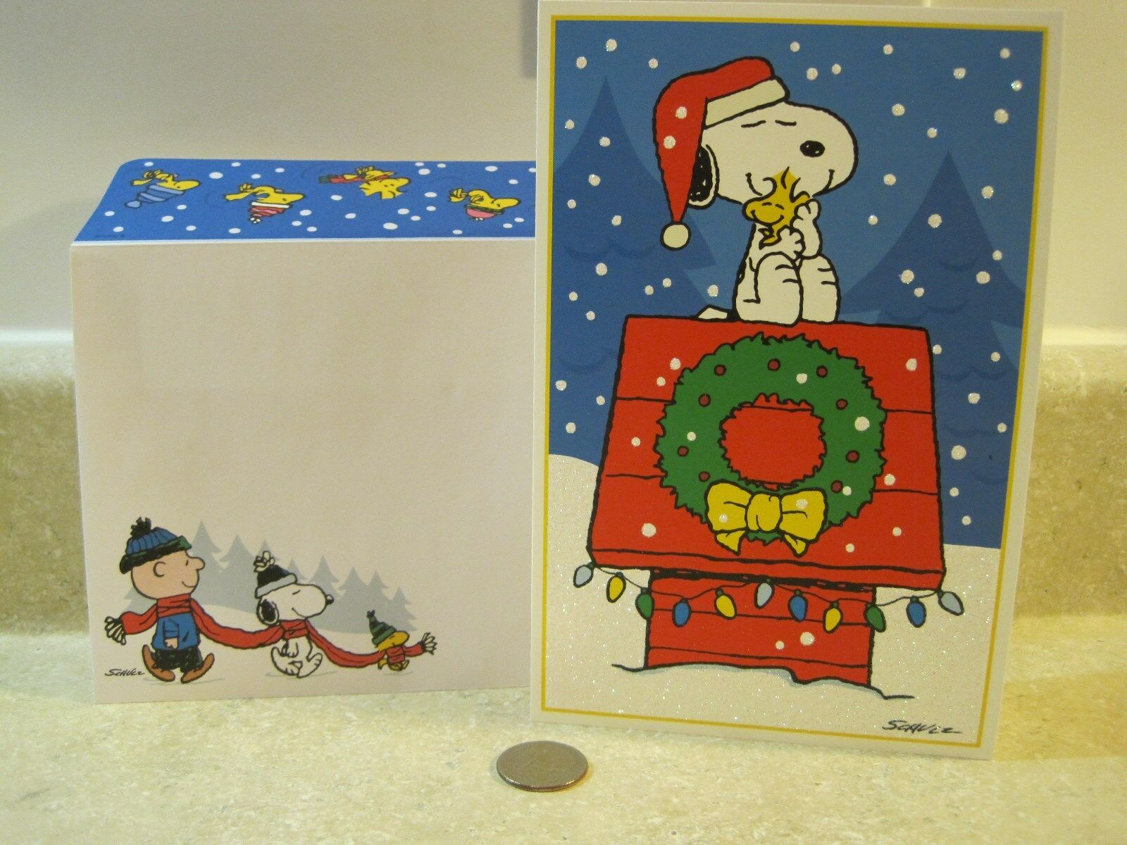 1 HIGH QUALITY Snoopy Woodstock Hugging Peanuts Christmas Card ...