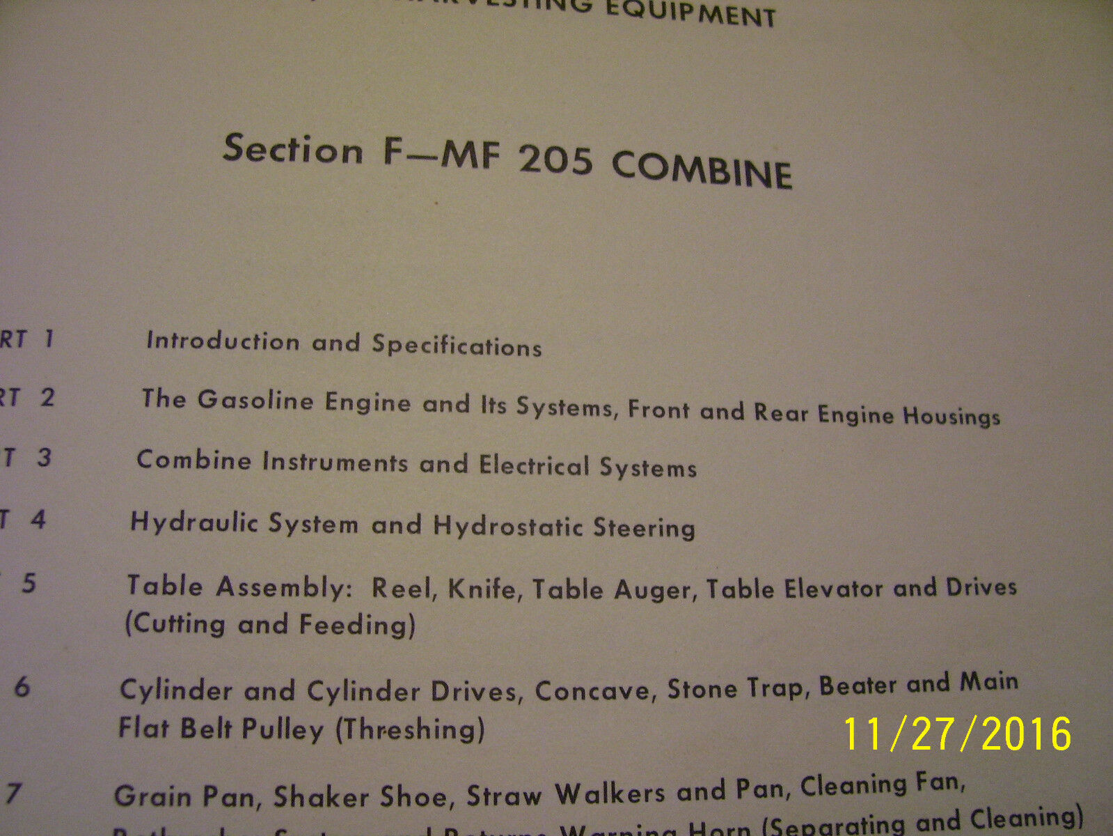 Vintage Massey Ferguson Service Manual -# Mf 205 Combine - 1965 ? 1 of  3Only 1 available ...