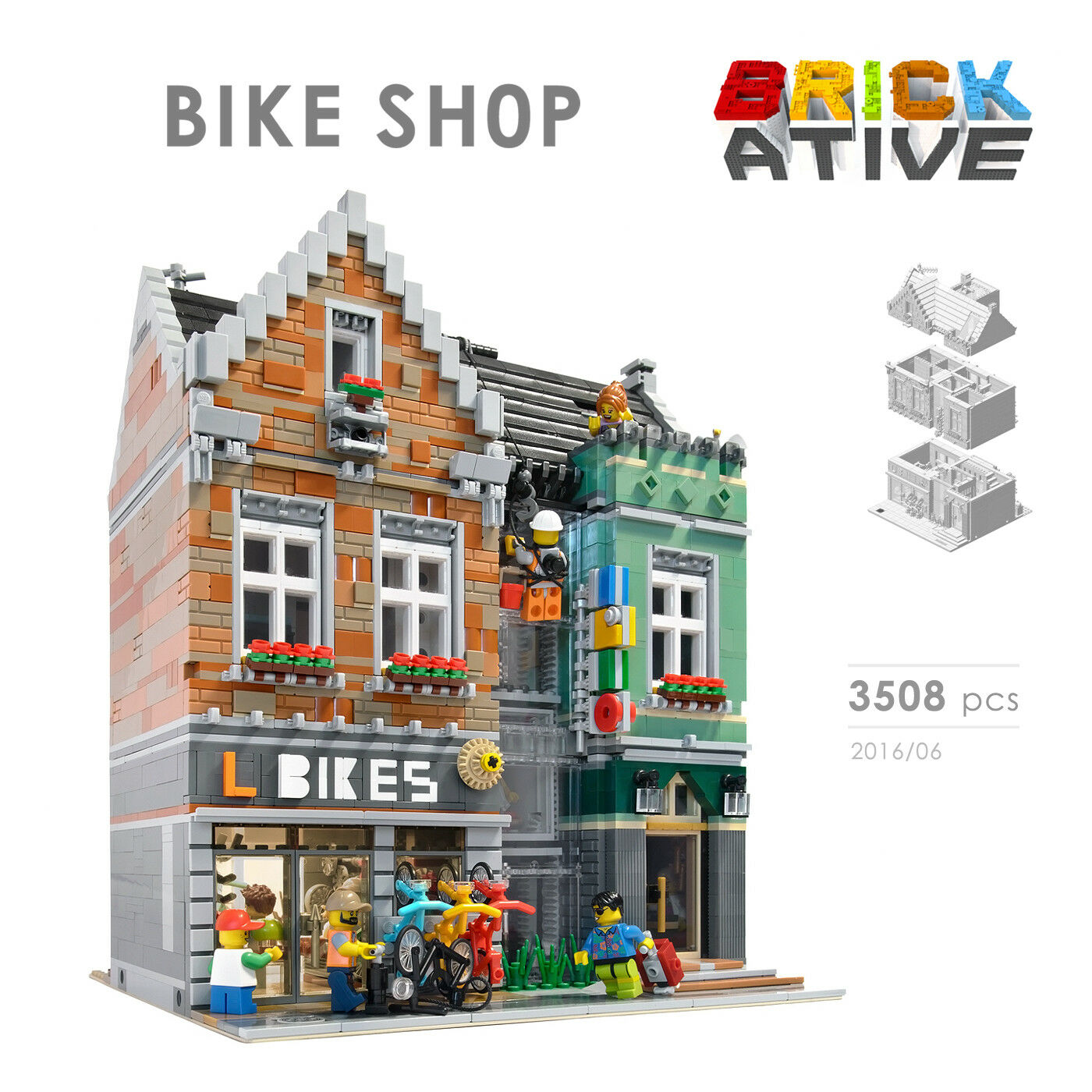 Lego Custom Modular Building Bike Shop Instructions Only
