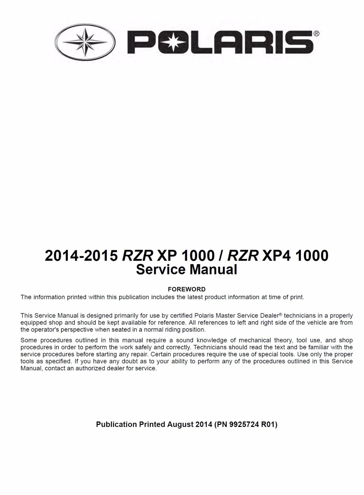 ... Array - polaris 2014 2015 rzr xp 1000 xp4 1000 utv service manual w  binder rh