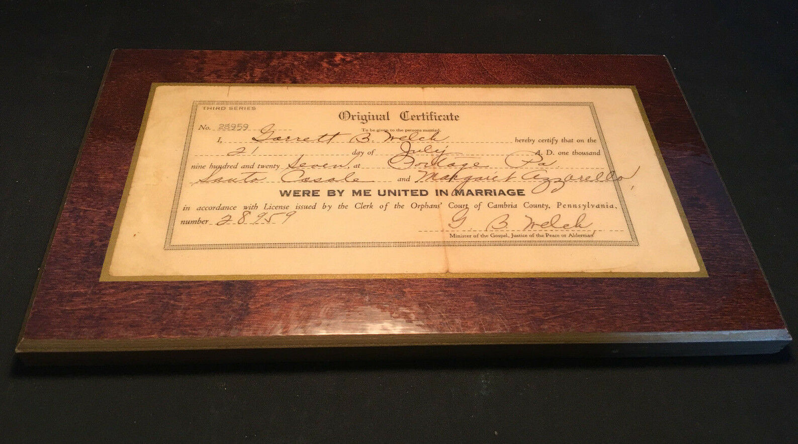 Old Vtg Collectible Marriage Certificate From 1927 2995 Picclick