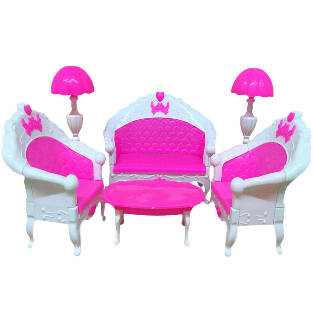 6er mini dollhouse m bel wohnzimmer sofa tisch und stuhl set f r barbie puppe de eur 6 92. Black Bedroom Furniture Sets. Home Design Ideas