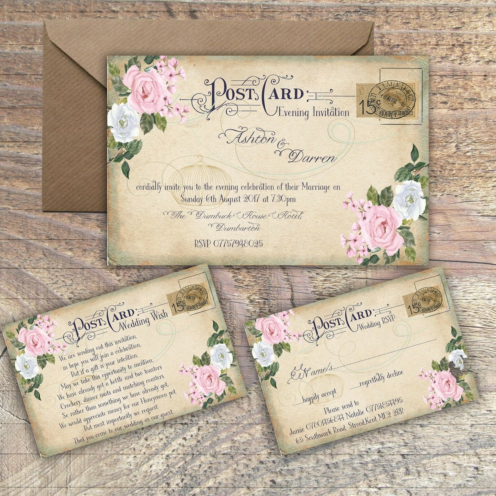 PERSONALISED VINTAGE POSTCARD Pink & Grey Floral Wedding Invitations ...