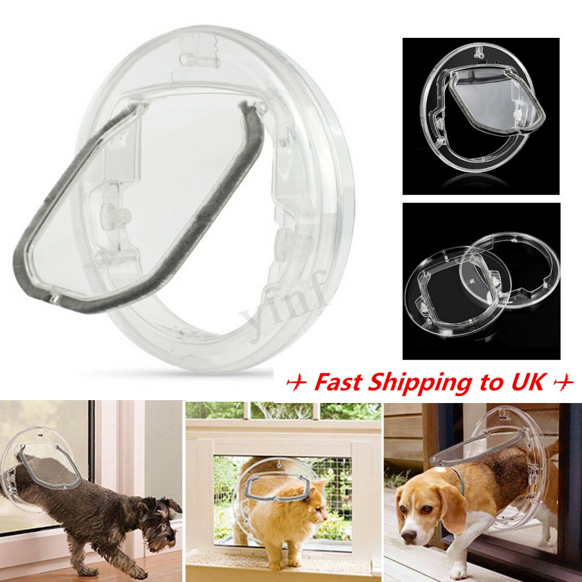 4 Way Round Clear Locking Flap Pet Door Cat Small Dog For Screen Glass Window 1 Of 10free See More