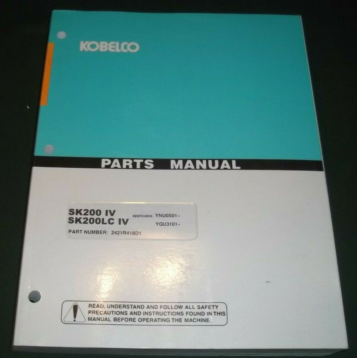 Kobelco Sk200 Iv Sk200lc Excavator Parts Book Catalog Manual Sk210 Wiring Diagram 1 Of 1only 2 Available See More