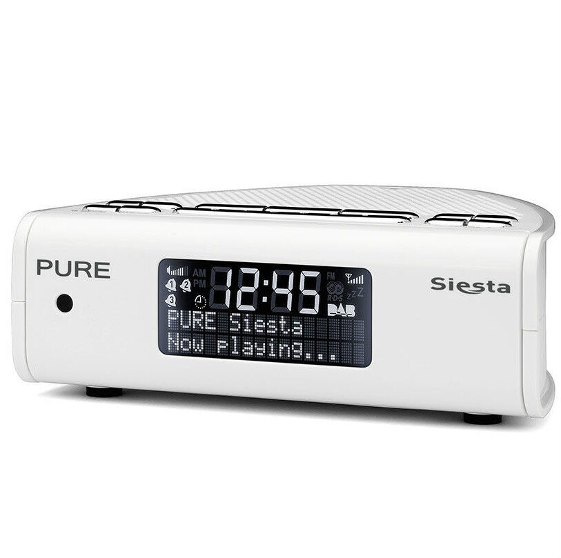pure siesta digital dab fm radio alarm clock white 29. Black Bedroom Furniture Sets. Home Design Ideas