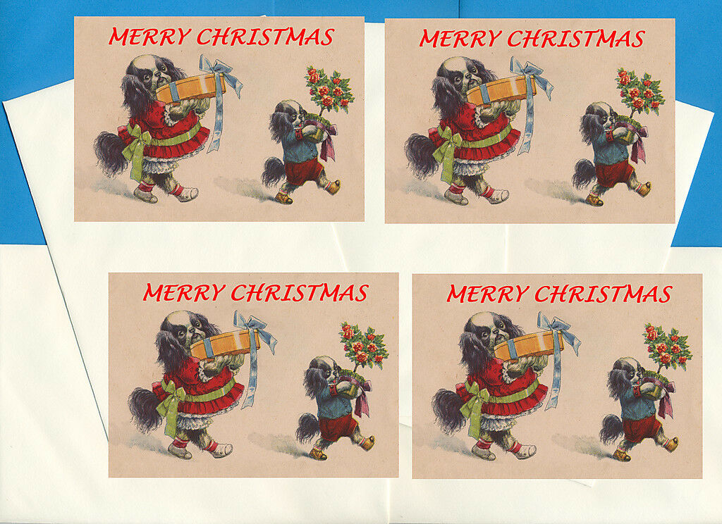 JAPANESE CHIN PACK Of 4 Cards Dog Print Greeting Christmas Cards ...