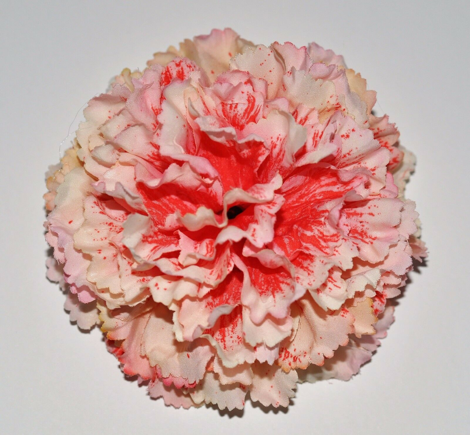 4 Pink Splash Variegated Carnation Silk Flower Hair Clip 300