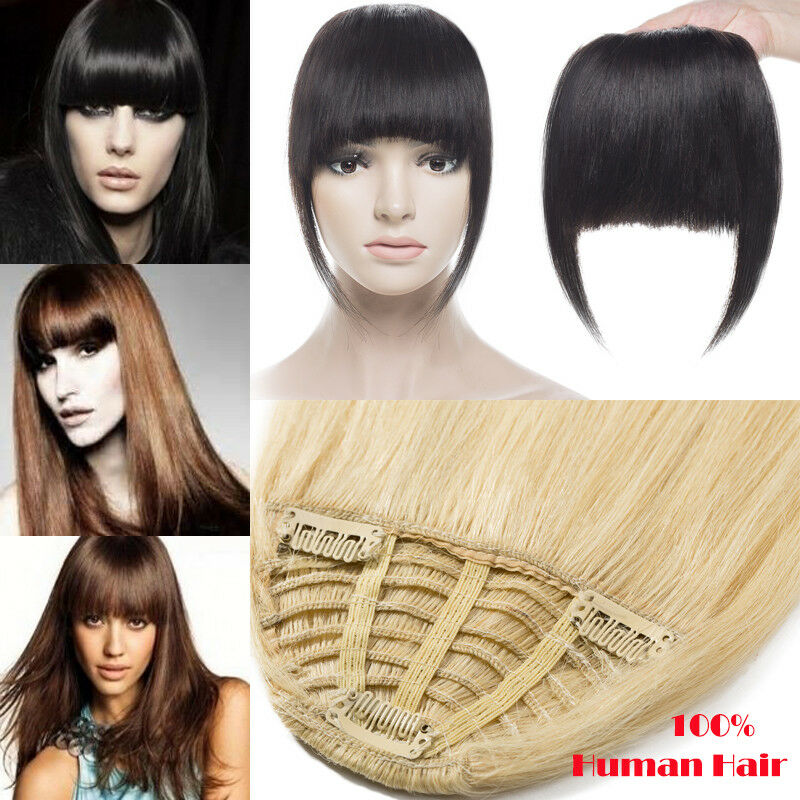 Us Cheap Clip In 100 Human Hair Bangs Fringe Extensions Real Remy