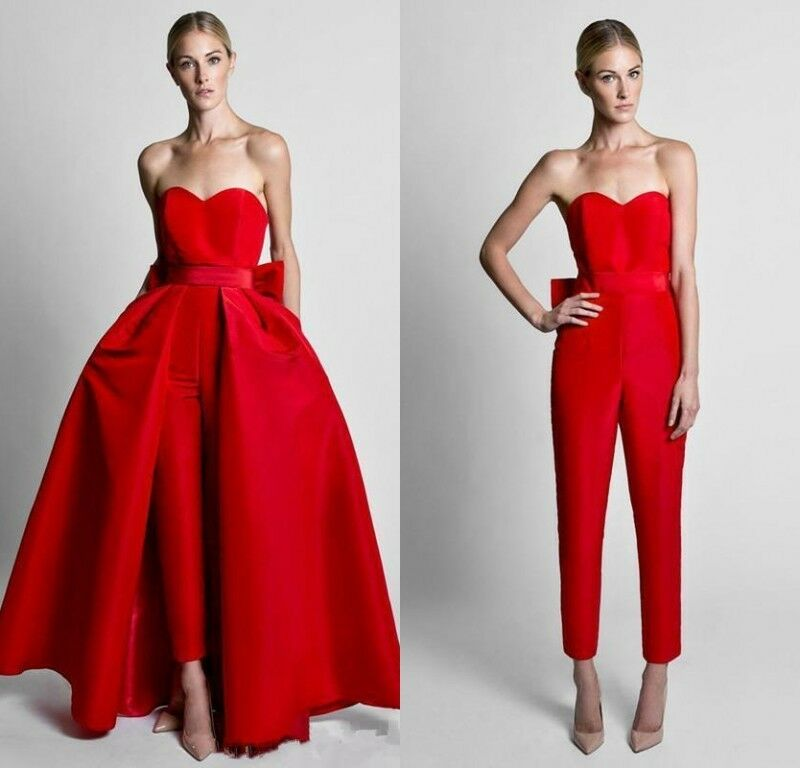 RED FORMAL GOWNS Jumpsuit Detachable Train Strapless Evening ...