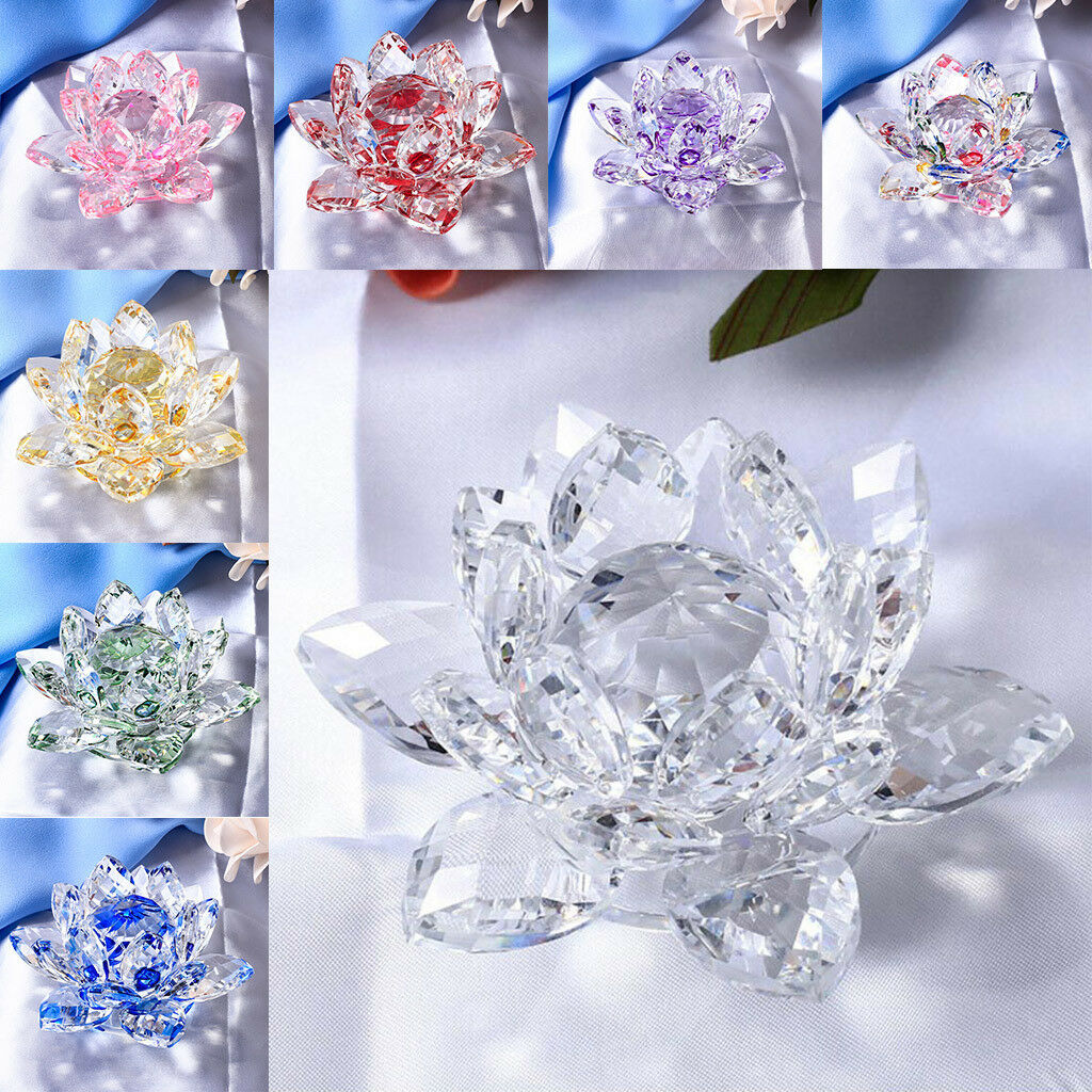 Large Crystal Lotus Flower Ornament With Gift Box Feng Shui Decor