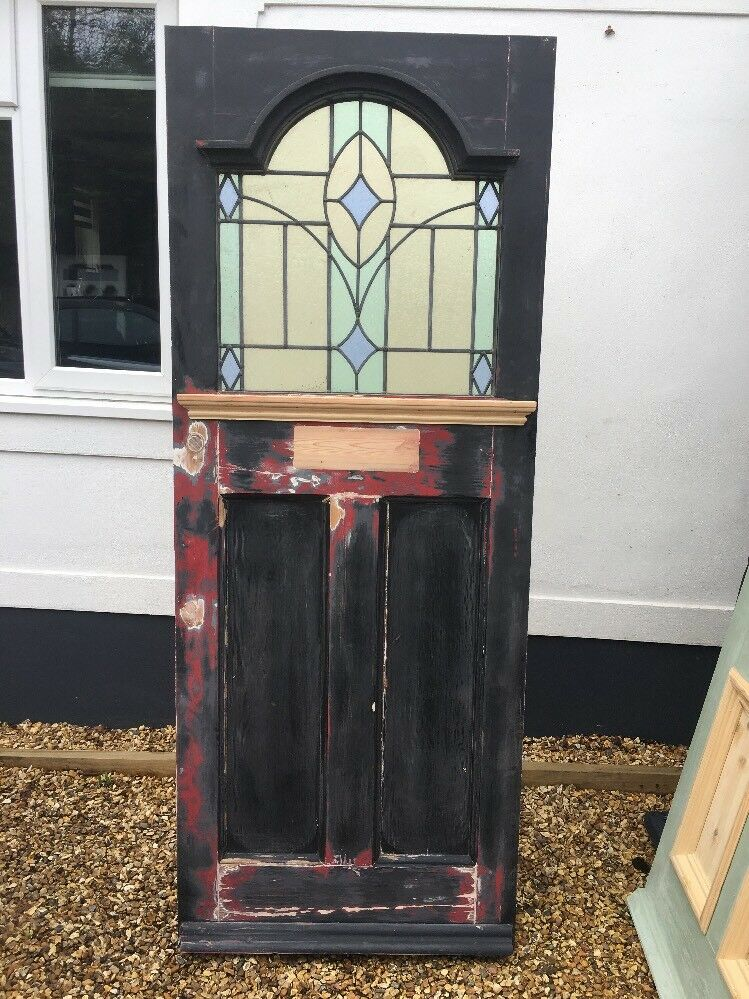 Edwardian Stained Glass Front Door Antique Reclaimed Period Wood
