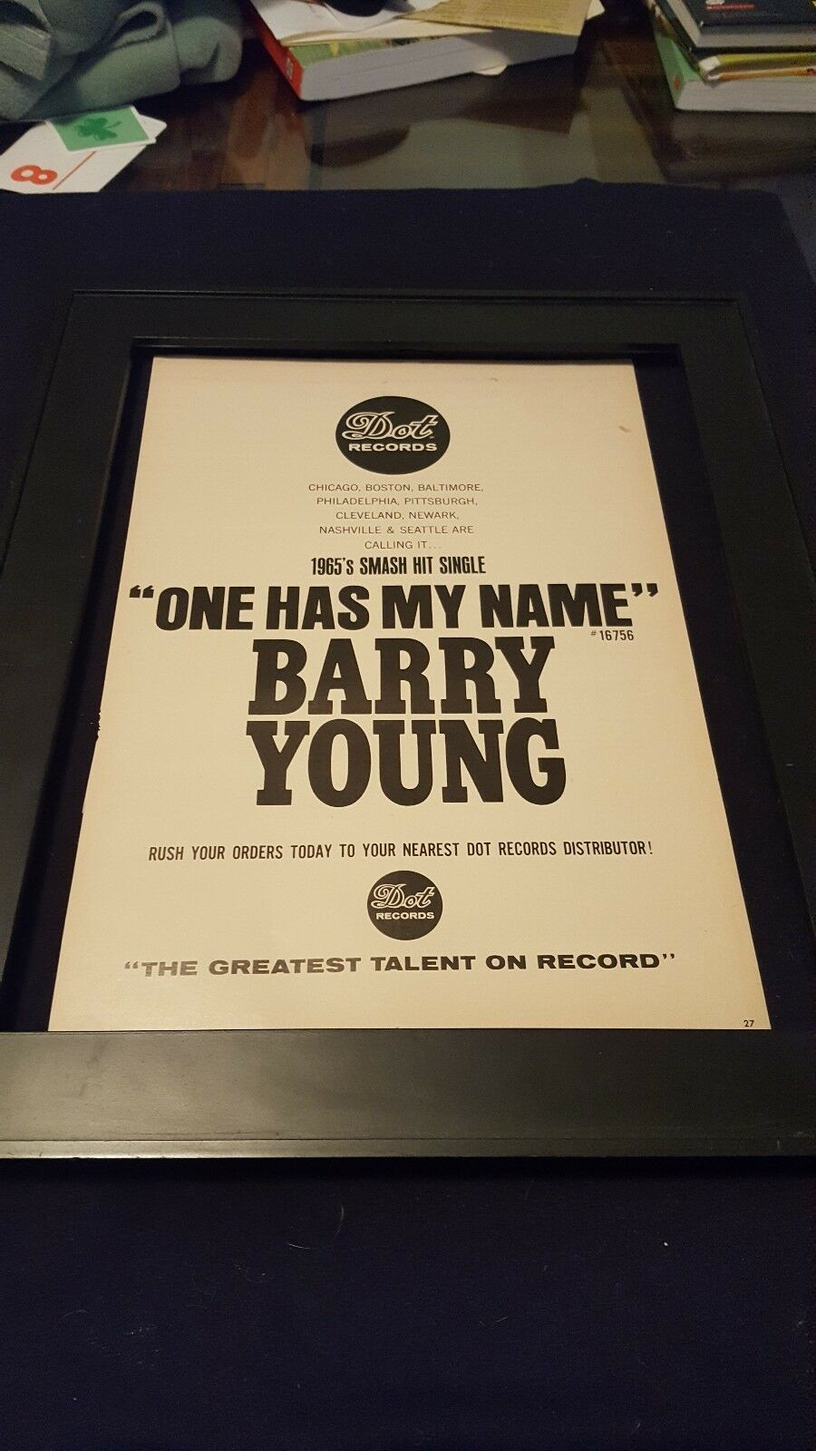 barry young one has my name rare original promo poster ad framed