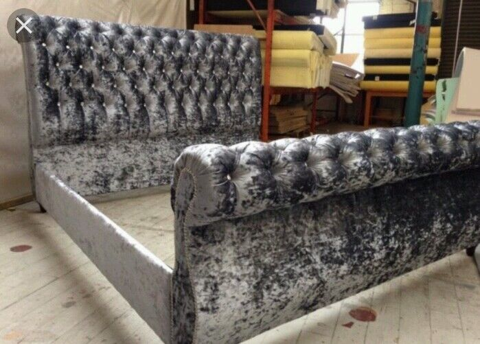 Royal Swan Sleigh Bed Crushed Velvet Any Size Avalible In Black And Silv 1 Of 9free Shipping