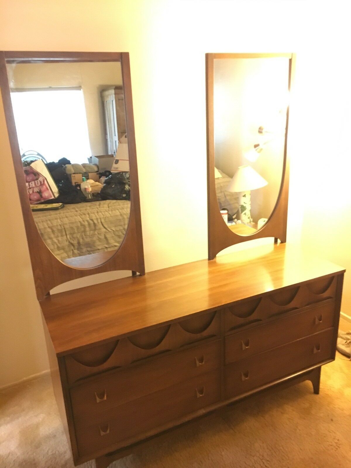 Broyhill Brasilia 6 Drawer Dresser Or Credenza With 2 Mirrors Mid Century So Cal 1 Of 12 See More