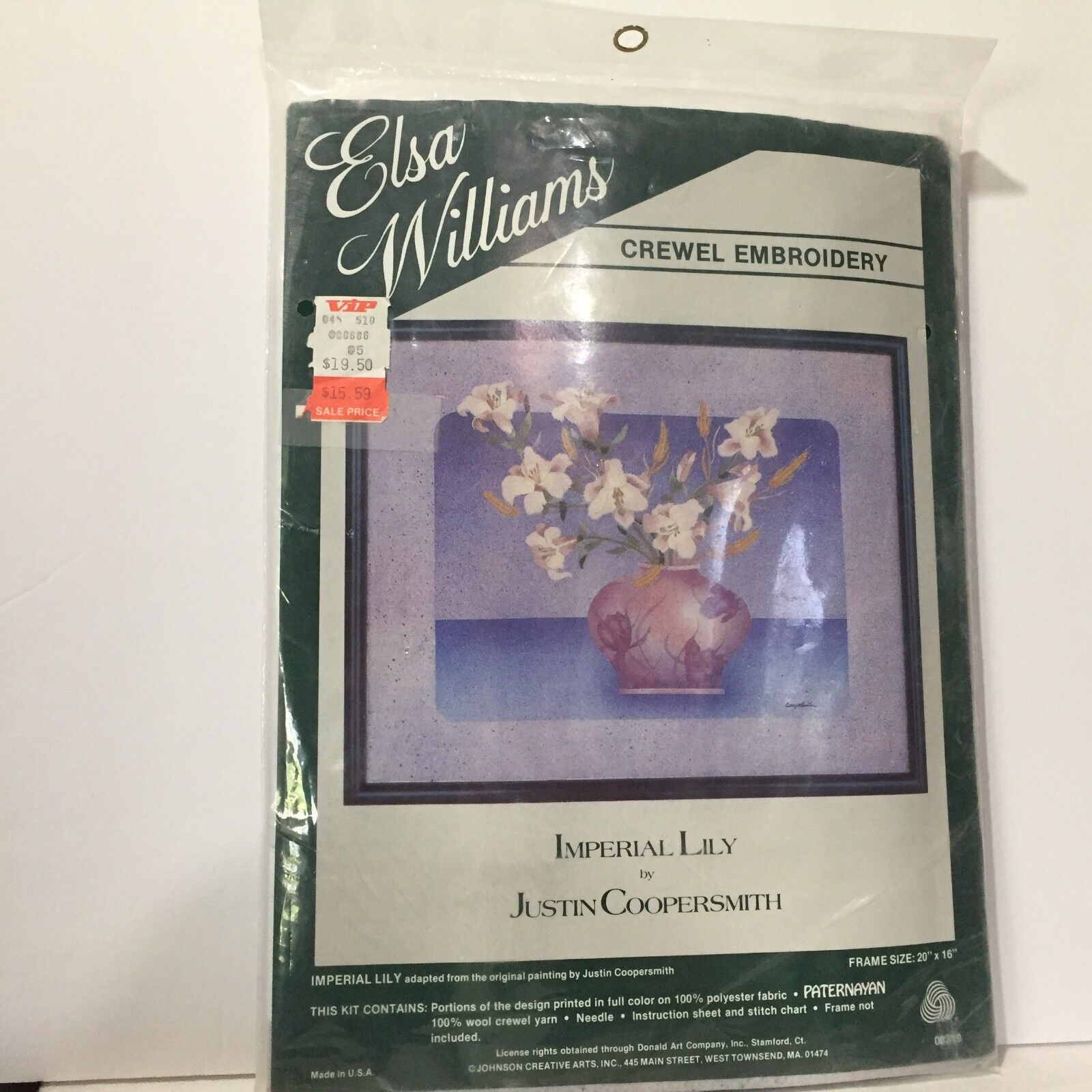 New Elsa Williams Crewel Embroidery Kit Imperial Lily 00319 20x16