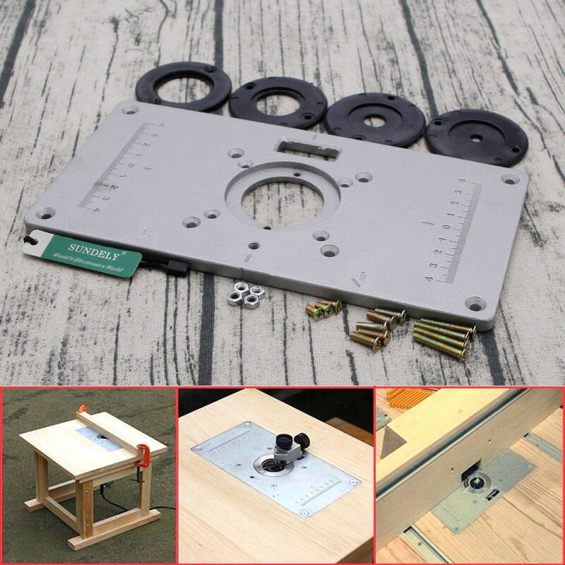 Aluminum router woodworking table insert plate with 4pcs rings set aluminum router woodworking table insert plate with 4pcs rings set 235x 120x 8mm 1 of 5free shipping greentooth Gallery