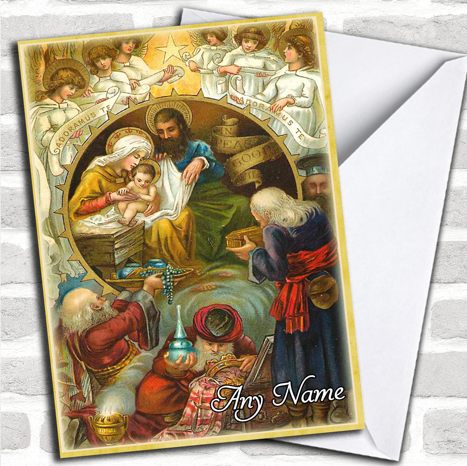 religious scene vintage traditional personalized christmas card 1 of 1free shipping