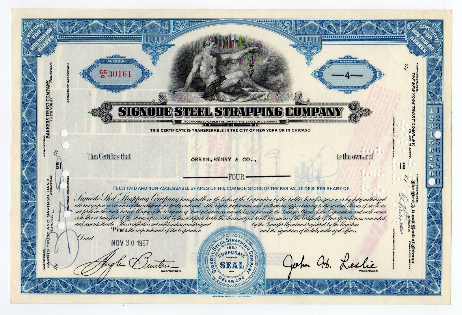 Signode Steel Strapping Company Stock Certificate 1299 Picclick