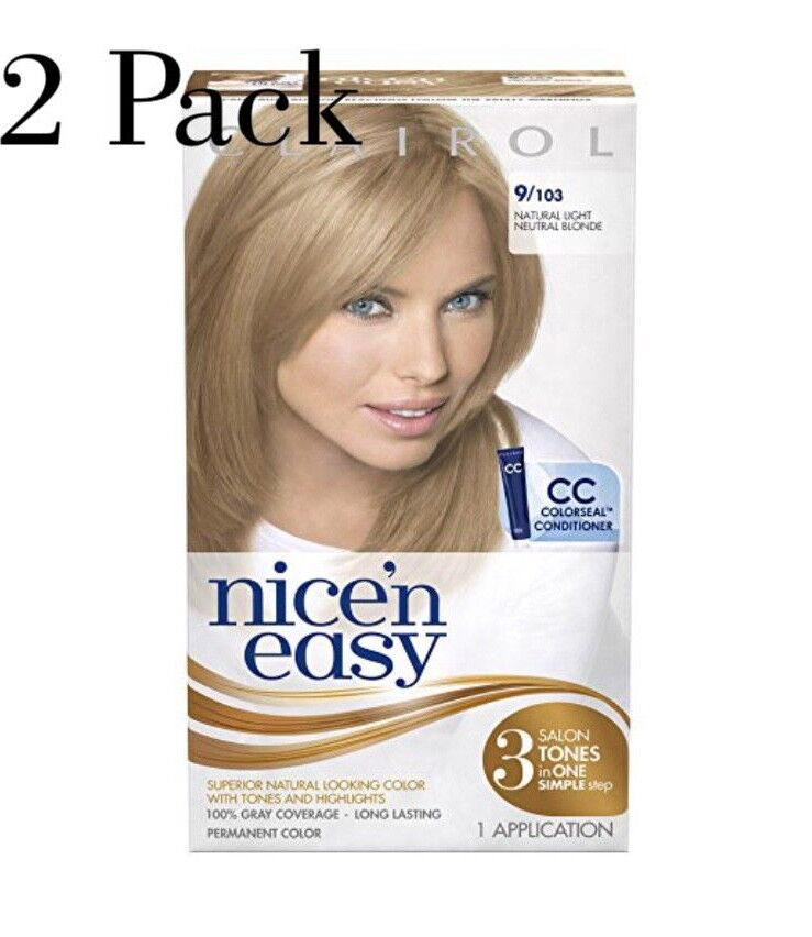 2 Pack Clairol Nice N Easy 9103 Natural Light Blonde Hair Color 1495