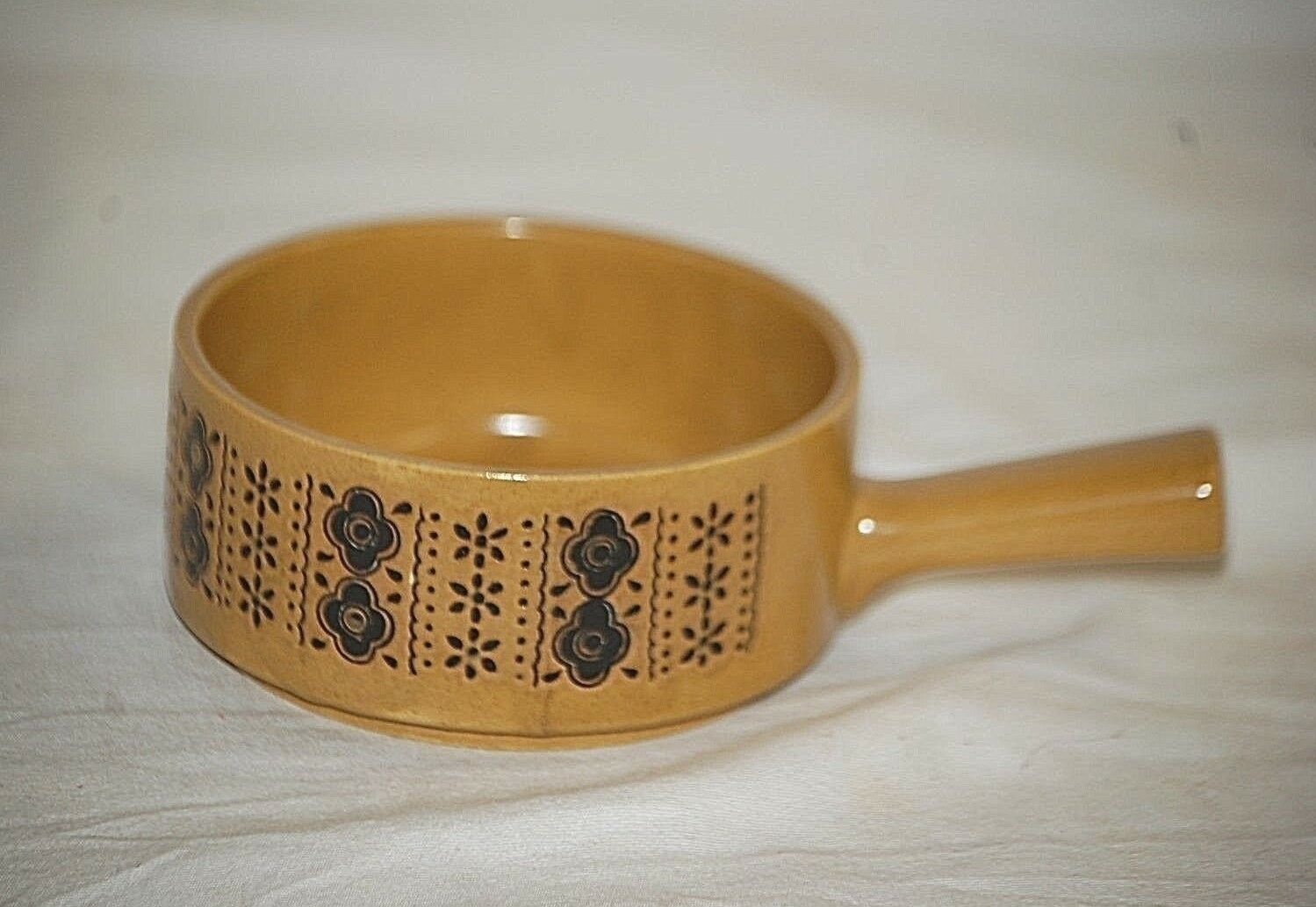 OLD VINTAGE SOUP Bowl w Handle Yellow Stoneware Crock w Abstract ...