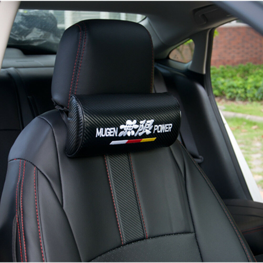 2Pcs Mugen Power Neck Rest Pillow Auto Car Seat Cushion Black Carbon Fiber 1 Of 8Only 2 Available See More