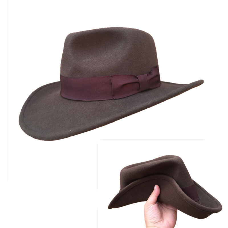 071fdf8414a Wool Felt Brown Fur Crushable Cowboy Fedora Hats Indiana Jones Outback Hat  1 of 7Only 3 available ...