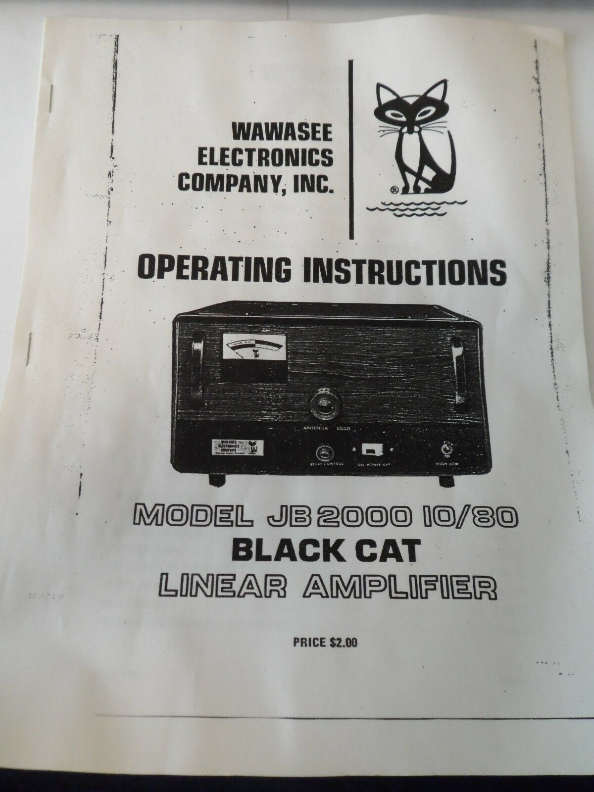 Wawasee Black Cat JB-2000 Copy of Manual With Schematics ~FREE SHIPPING~ 1  of 1FREE Shipping ...