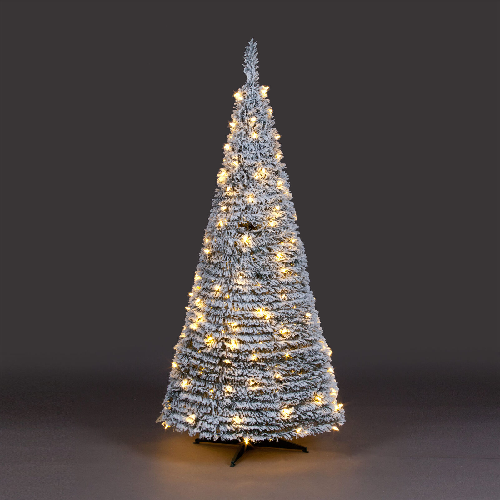 6ft flock silver pop up christmas tree with warm white leds 1 of 1free shipping