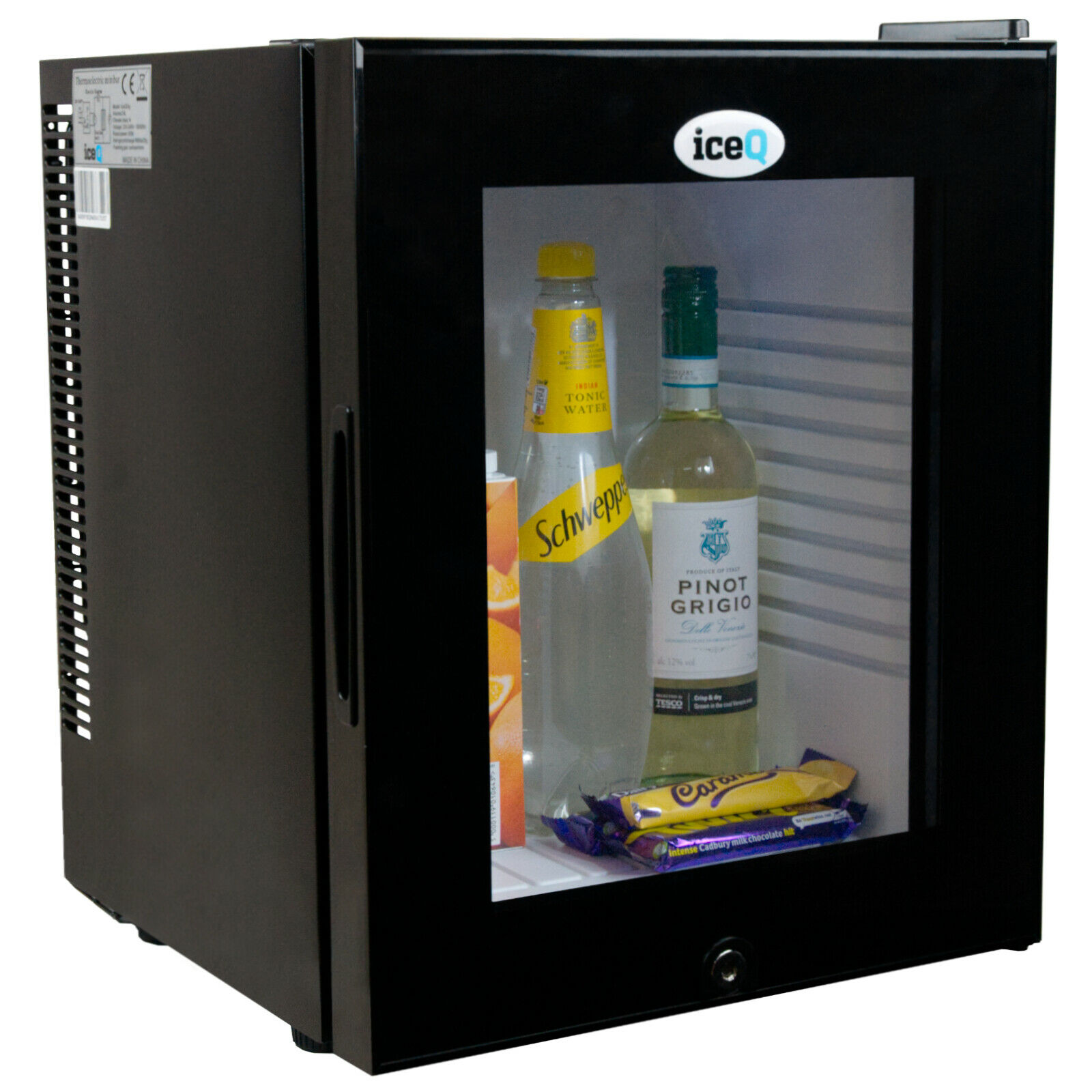 Iceq 24 Ltr Black Glass Door Mini Bar Fridge With Lock Hotels Bb