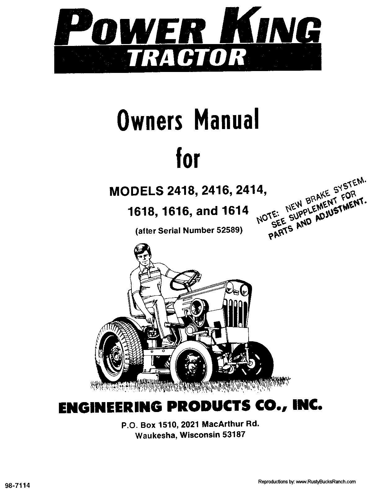 Power King 1614, 1616, 1618, 2414, 2416, 2418 Tractor Operator Manual 1 of  5Only 5 available ...
