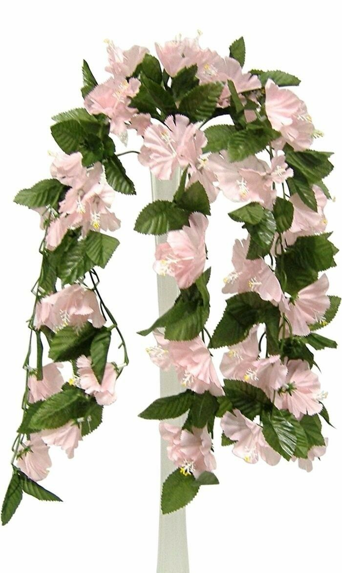 26 Hibiscus Pink Hanging Bush Silk Flowers Wedding Bouquets