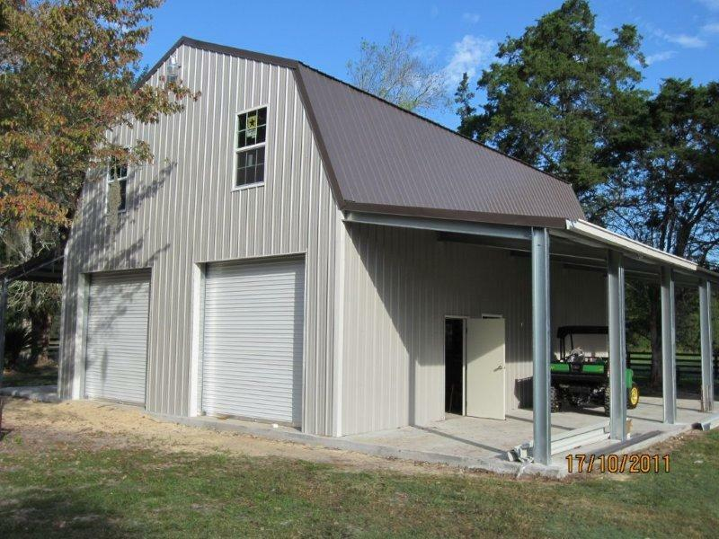Steel gambrel building kit 2 floors 2400 sq ft plus sheds for Gambrel style steel building