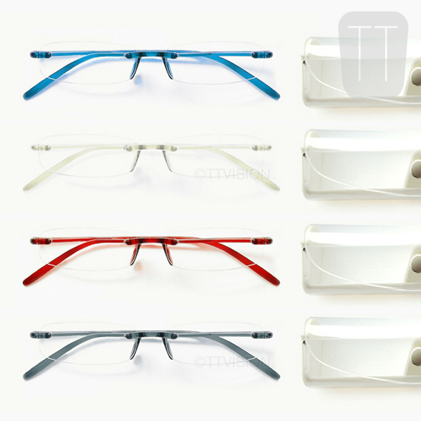 Rimless Distance Glasses : New Memoflex Rimless Reading Glasses - Grey, Red, Blue ...