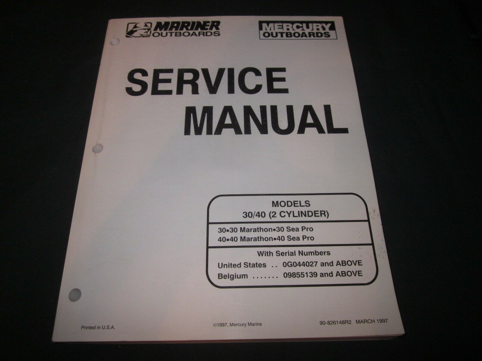Oem Mercury & Mariner Outboard Service Manual 30 & 40 Marathon Sa Pro  90-826148 1 of 1Only 1 available See More