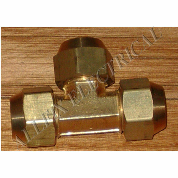"""Brass 3/8"""" SAE Flare T-Union With Flare Nuts - Part # RF711KIT"""