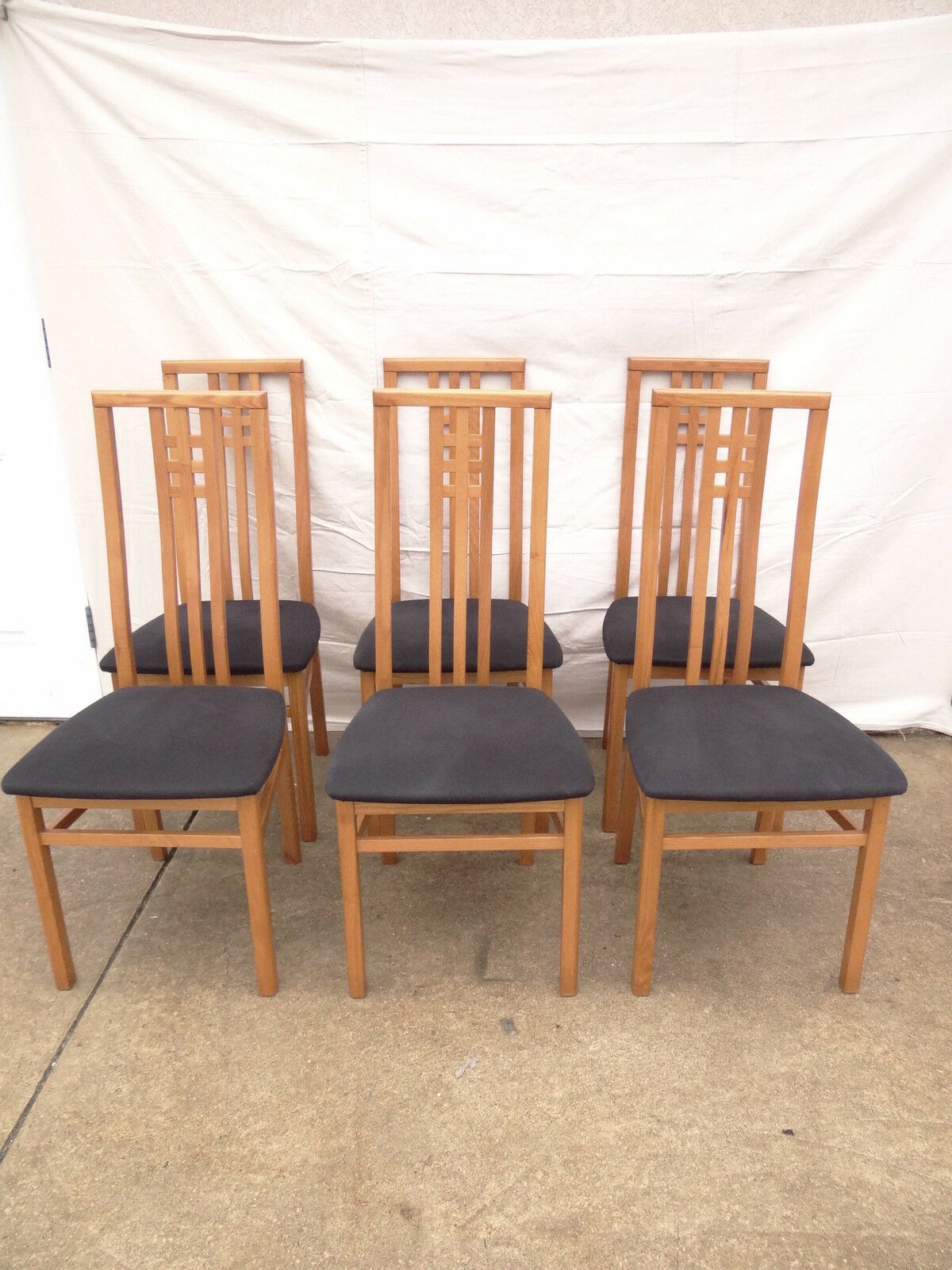6 danish modern teak high back dining room side chairs set for High back dining room chairs
