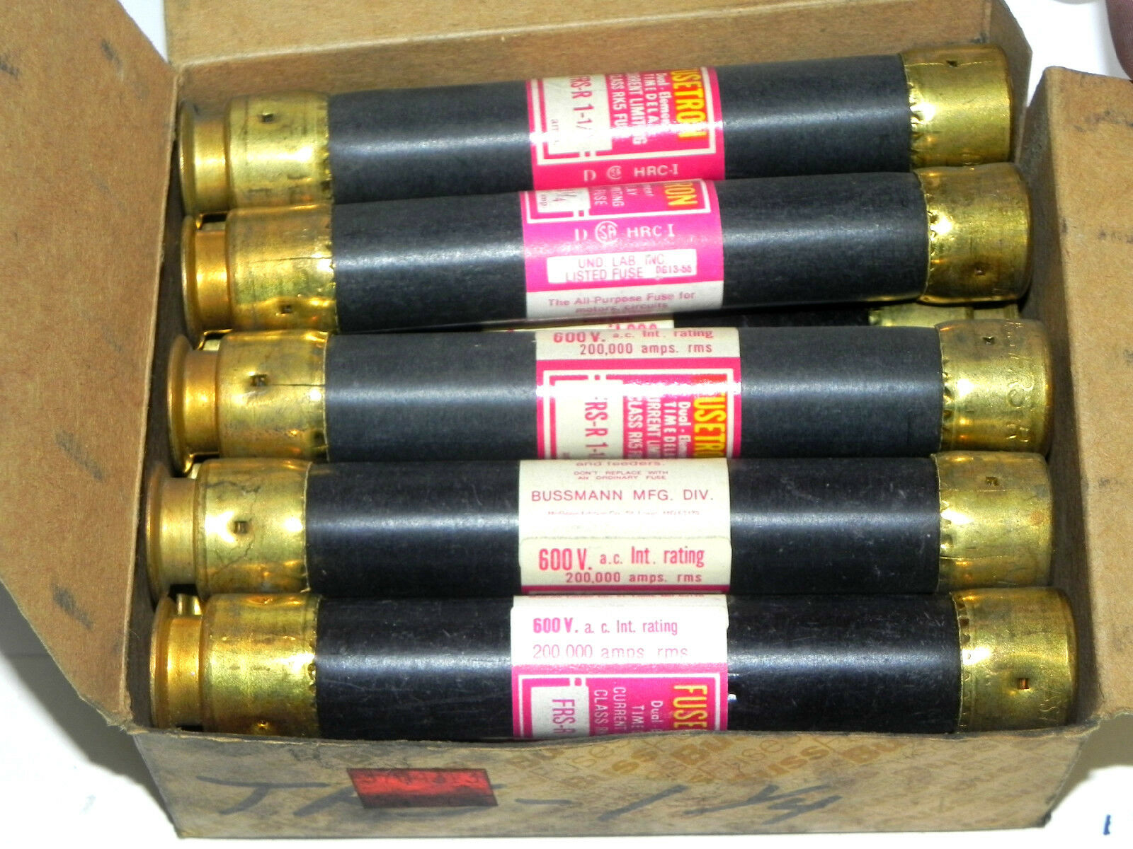 Box Of 10 Bussmann Fusetron Frs R 1 4 Fuses 125amp 600v Class Rk5 125 Amp Fuse 2only Available