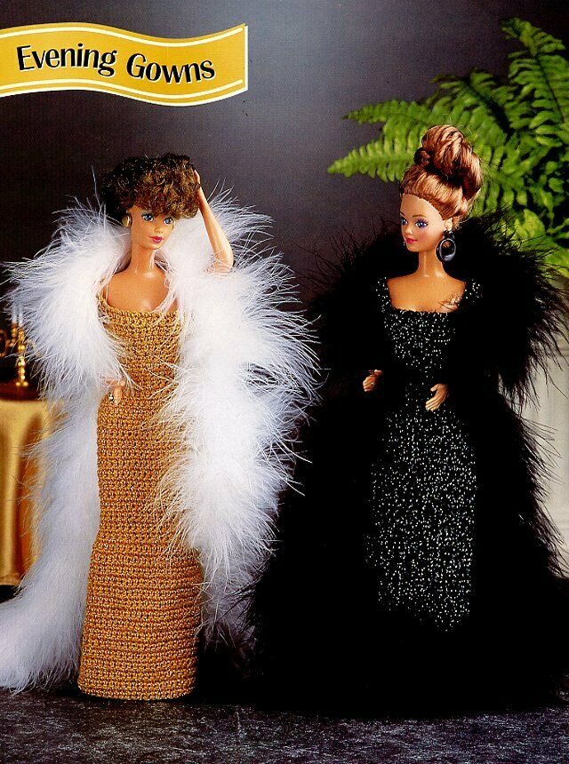 Evening Gowns Blackgold For Barbie Doll Annies Crochet Pattern 30