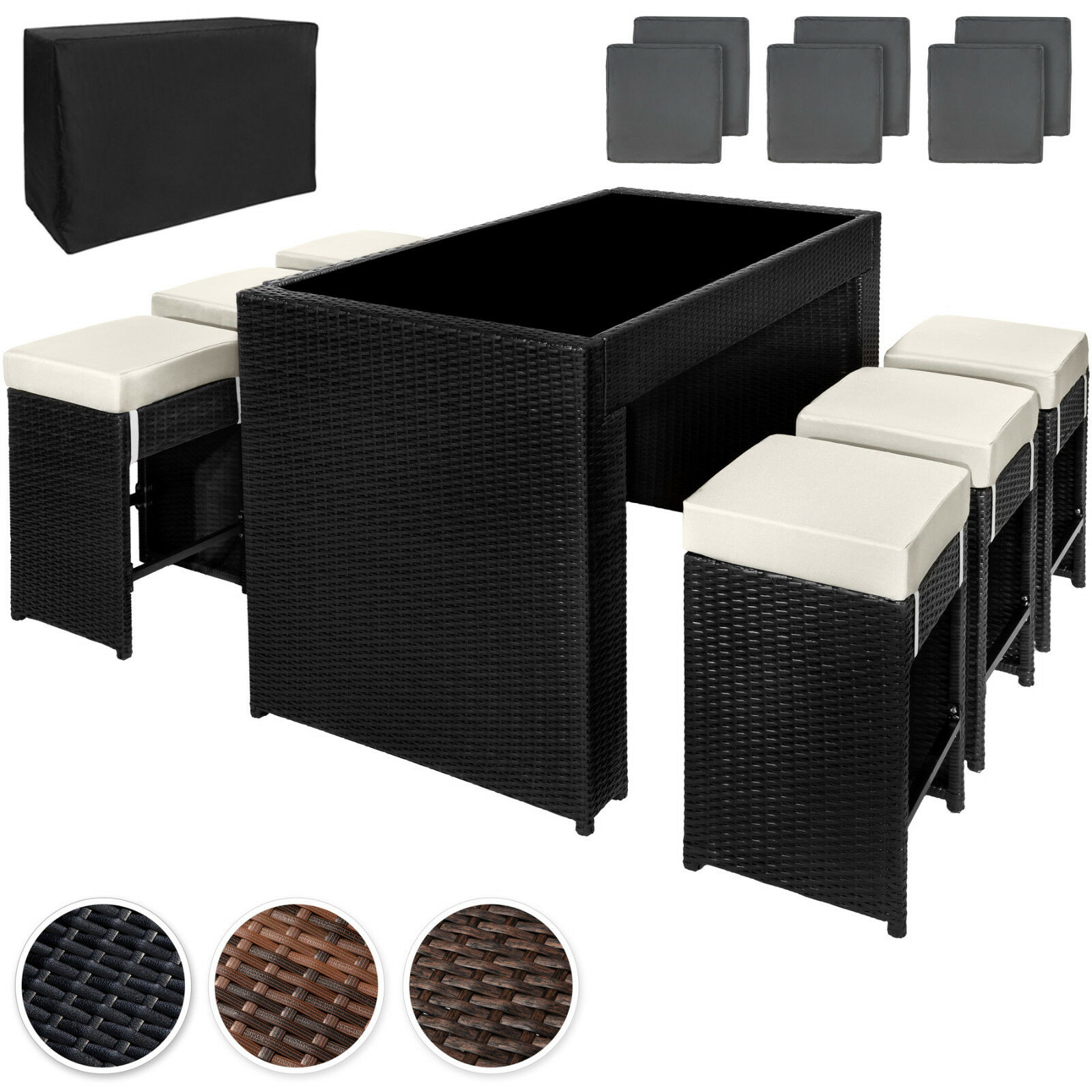 poly rattan aluminium barset mit 6 barhocker gartenm bel sitzgruppe lounge theke eur 299 99. Black Bedroom Furniture Sets. Home Design Ideas