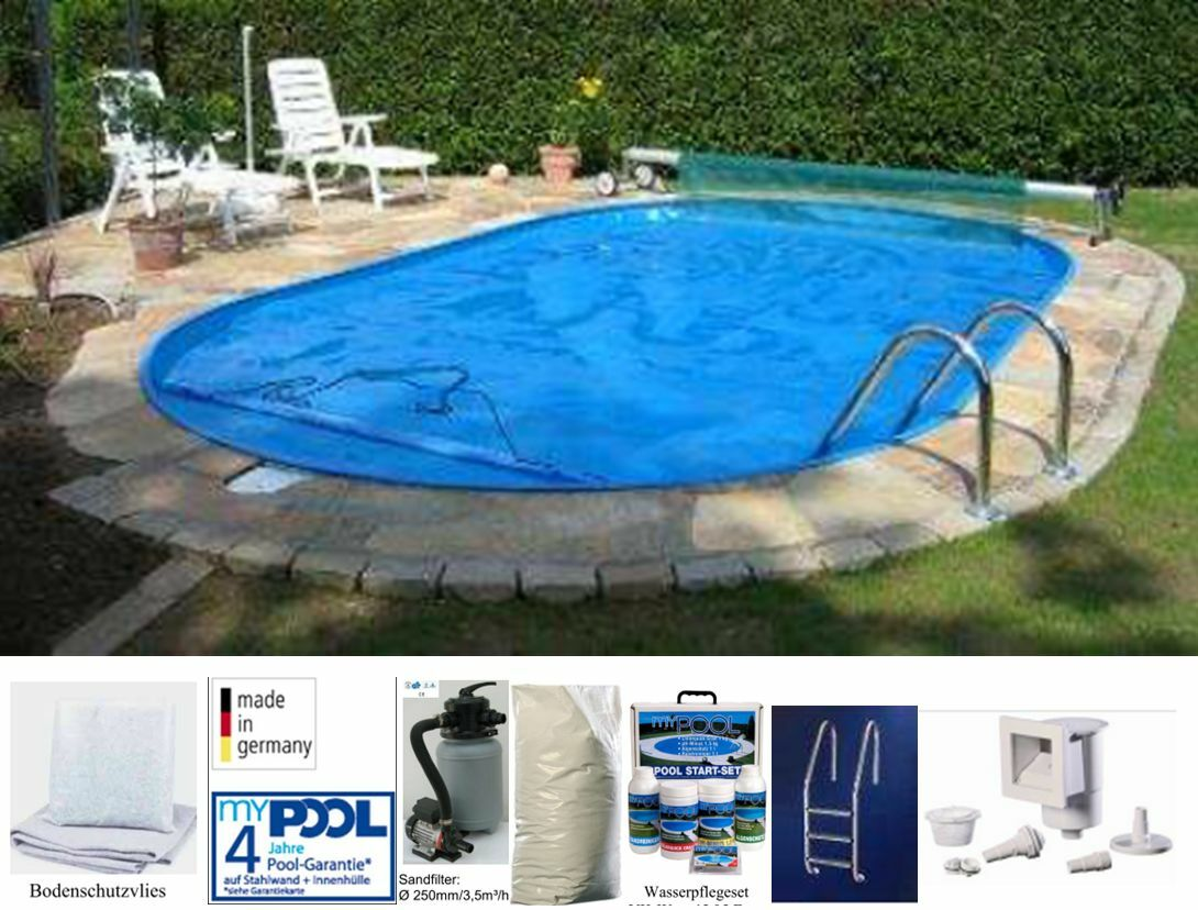 Mypool pool set trend ovalform 450x250 cm swimmingpool for Schwimmbad pool