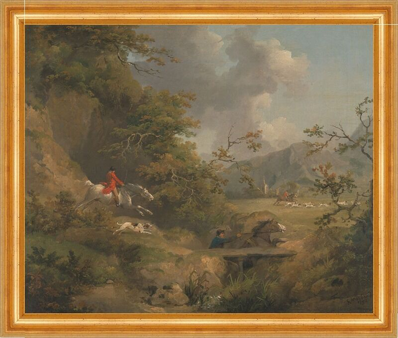 Foxhunting in Hilly Country George Morland Fuchsjagd Pferde Hunde B A3 00146