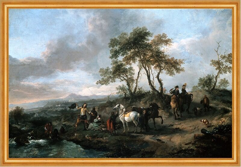 Halt of a Hunting Party Wouwerman Philips Rast Pause Jagen Pferde B A2 00133