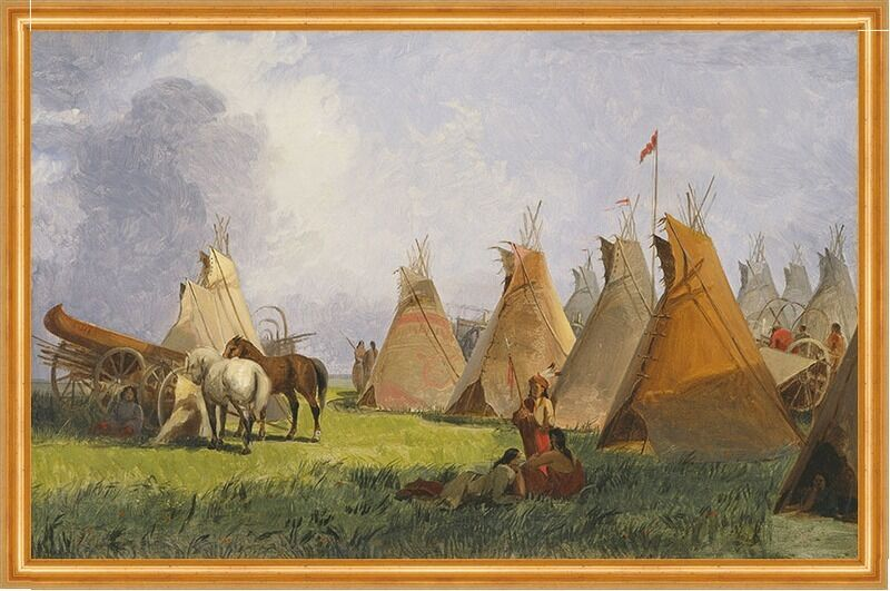 Camp of the Red River Hunters John Mix Stanley Indianer Tipis Lager B A2 00151