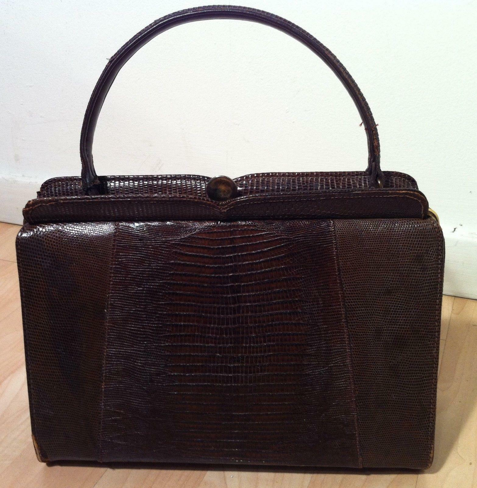Vintage 1940 S Brown Lizard Handbag Tote Purse Evening Bag 1 Of 12only Available