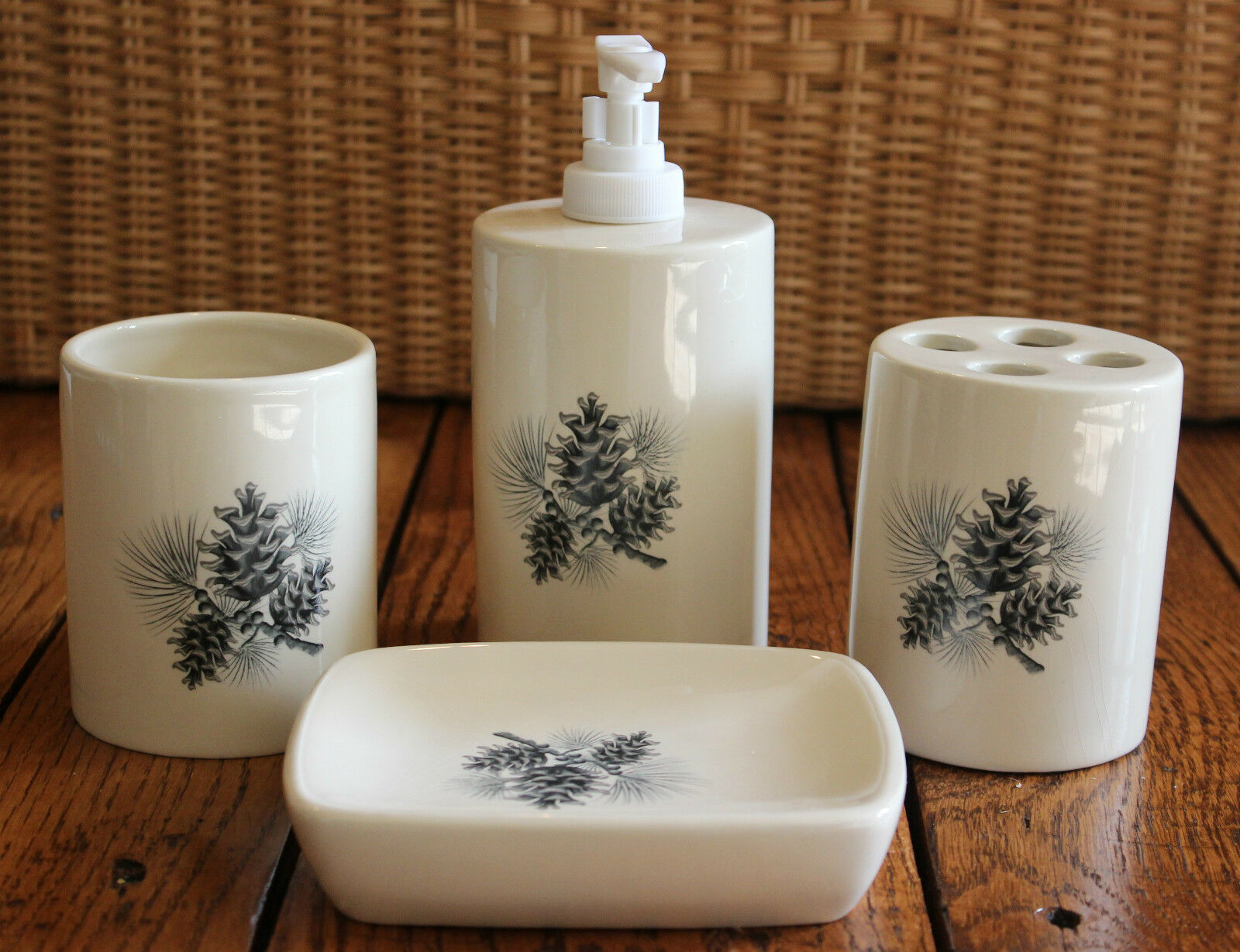 New Pine Cone Cabin Bathroom Set Of 4 Toothbrush Holder Cup Soap Dispenser  Dish 1 Of 5FREE Shipping ...