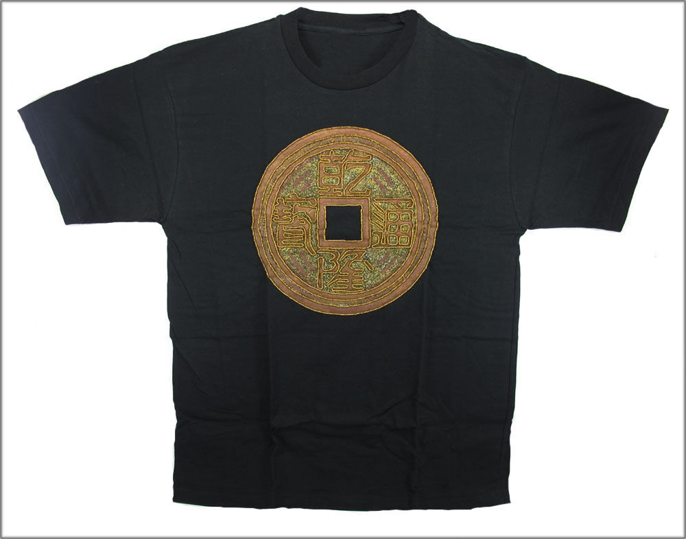 BLACK HAND PAINTED & BEADED CHINESE COIN T-SHIRT, Large .......... [IND7]